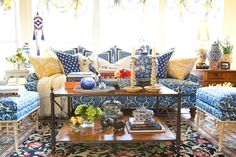 Beautiful Blue and White Living Room with a Touch of Yellow.  Interiors | Gary Riggs Home