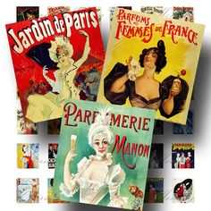 Vintage French Posters | Vintage French Posters (1) Digital Collage Sheet - .75 x .83 inch ...