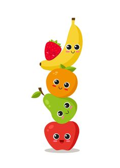 Funny Fruit, Cute Fruit, Art Drawings For Kids, Art For Kids, Mickey Mouse Wallpaper Iphone, Fruit Clipart, Fruits Drawing, School Clipart, Fruit Illustration