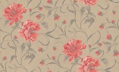 Peony Floral (933 0416) - Casamance Wallpapers - A beautiful painterly floral trail with richly detailed Peony flowers.  Shown in the rich burnt orange shades set on a soft brown background with a brown leaf trail.  Please request sample for true colour match. Paste the wall.