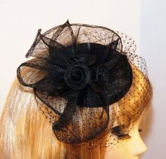 Black Fascinator Hat with Black Birdcage Veil - Millinery Hat - Royal Wedding Hat - Kentucky Derby Hat - Tea Party Hat - Vintage style hat