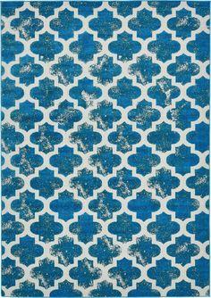 Turquoise 7' x 10' Transitional Indoor/Outdoor Rug | Area Rugs | eSaleRugs
