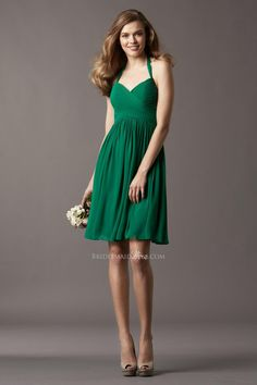 trendy green chiffon halter sweetheart a-line short bridesmaid dress--- I'd wear it to a party!