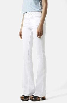 Topshop+Moto+'Tally'+Flare+Jeans+(White)+available+at+#Nordstrom