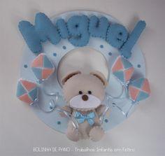 Enfeite Porta Maternidade Urso Bege Pipa