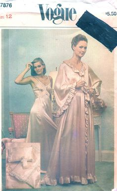 4cdca17ecb Vogue 7876 1970s Ladies Lingerie Pattern Nightgown Negligee Peignoir Pillow  Sachet Womens Vintage Sewing Pattern Size 16 Bust 38