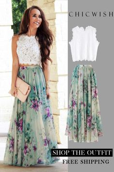 Floral and maxi skirt with ruffles - DE-Best Sellers - Jupe Chiffon Maxi, Floral Chiffon, Floral Maxi, Floral Skirts, Floral Skirt Outfits, Floral Print Skirt, Party Skirt, Mode Outfits, Stylish Outfits