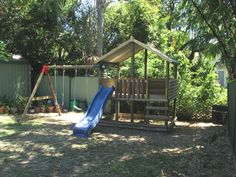 Backyard playground kids yard home improvement wilson actor ideas diy backy Backyard Fort, Backyard Playground, Backyard For Kids, Backyard Games, Playground Ideas, Pallet Playground, Natural Playground, Cubby Houses, Play Houses