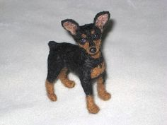 NEEDLE FELTED DOG~CUSTOM PET PORTRAIT~MINIATURE PINSCHER~MIN PIN~NIKKI~by GOURMET FELTED by Gourmet Felted, via Flickr