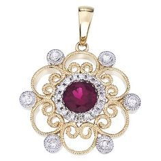 14K Two Tone White and Yellow Gold Round Ruby and Diamond Filigree Pendant #pendant #yellowgold #gold #jewelry #ruby
