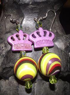 Purple Crown Earrings by reddirtroseokc on Etsy