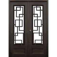 """Iron Doors Depot Demitrius Premium Flat Top Iron Prehung Front Entry Door Door Size: 96"""" H x 61.5"""" W"""