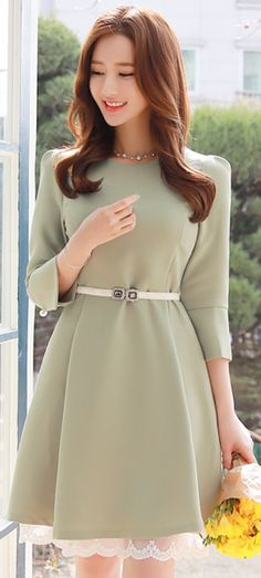 StyleOnme_Round Neck Lace Hem Flared Dress #pastel #green #sweet #elegant #feminine #dress #koreanfashion #spring #kstyle #seoul