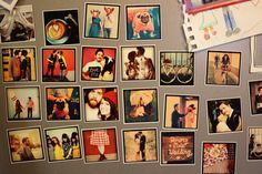 Make your photos into tiny magnets for your fridge. Love this idea from A Beautiful Mess.