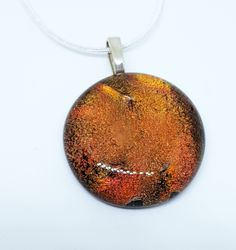 Burnt Orange Round Pendant, Fused Glass Jewellery, Dichroic Glass Gift for Her, Sister Gift, Present for Mother, Wife Gift, Glass Jewelry