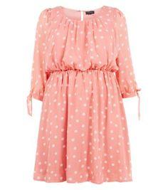 Inspire Coral Long Sleeve Polka Dot Skater Dress - New Look