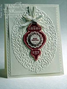 Wow! I really like Mixed Medley in the center of the ornament. Holiday Frame embossing folder & Ornament Keepsakes look fantastic together in Jan's card!