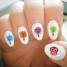 Nail Decals Mickey and Minnie Christmas Nail Decals Water Owl Nails, Neon Nail Designs, Colorful Nail Art, Super Cute Nails, Nails For Kids, Nail Tattoo, Types Of Nails, Nail Decals, Fabulous Nails