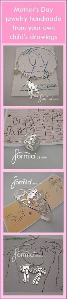Look no further for your perfect Mother's Day gift. Handmade jewelry by an expert goldsmith, created from YOUR OWN artwork! Just send us an image for a FREE estimate: www.formiadesign....