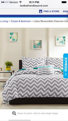 Reversible white and gray and teal and white chevron comforter twin I like that it is reversible
