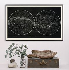 Black Milky Way with Double Hemisphere by CapricornPress on Etsy