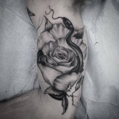 """Good ol snake and rose. Didnt quite finish but it was a fun start! Done at Ben Around Tattoos in Charlottesville VA  #blackwork #darkart #darkartists…"""