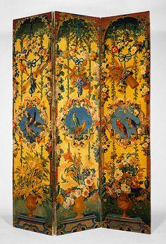 Pair of Three-Panel Screens (paravents, 1714-1740, France,  Savonnerie, Knotted woolen pile. Savonnerie Manufactory; with designs by Alexandre-François Desportes, painter; and Jean-Baptiste Belin de Fontenay, painter, (Getty Museum)