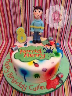 Horrid Henry birthday paint splatter cake Www.facebook.com/augustusgloopwales Leo Birthday, Birthday Parties, Birthday Cakes, Birthday Ideas, Paint Splatter Cake, 7 Cake, Birthday Painting, Biscuit, Childrens Party