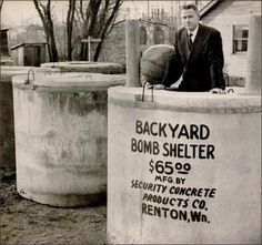 Creative solutions: Because of the cold war and the nuclear arms race, a Septic tank is converted to 6 person bomb shelter, 1951 Vintage Advertisements, Vintage Ads, Bomb Shelter, History Magazine, Nuclear War, E Mc2, Septic Tank, Atomic Age, Historical Images