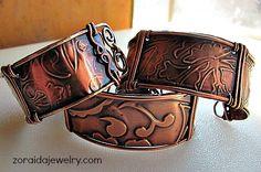 Rustic copper cuffs by Zoraida