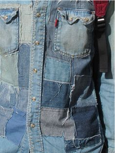 Denim patchwork shirt! Perfect use for all my old jeans.