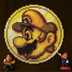Super Mario coin hama beads by (Original design by perler_purrs) Pony Bead Patterns, Pearler Bead Patterns, Perler Patterns, Pearler Beads, Beading Patterns, Cross Stitch Patterns, Pac Man, Pixel Art, Mario Bros