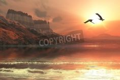 Ghost Seascape - A gorgeous sunset captures the flight of two Bald Eagles flying along a mou mural