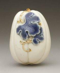 Pumpkin, Anonymous, 19th century, netsuke, Hirado ware; porcelain with blue glaze, 1 3/4 x 1 5/16 x 1 1/4 in. (4.4 x 3.3 x 3.1 cm)