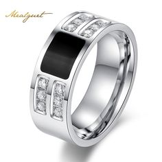 Meaeguet Fashion Men's Ring Stainless Steel Beauty Crystal Mens Ring With CZ Stone Male Cool Party Jewelry