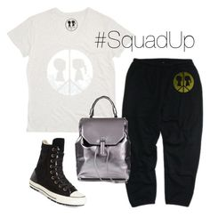 """""""#SquadUp"""" by boymeetsgirlusa ❤ liked on Polyvore featuring Boy Meets Girl, Converse and Topshop"""