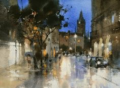 Watercolor workshop by Chien Chung-Wei at Ichen Art Academy Watercolor City, Watercolor Artists, Watercolor Sketch, Watercolor Artwork, Watercolor Landscape, Artist Painting, Art Academy, Painting Gallery, Art Pictures