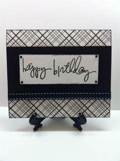 Classic Black & White Masculine Birthday Card .
