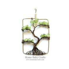 Peridot Bonsai Wire Tree of Life in Antique by HomeBabyCrafts