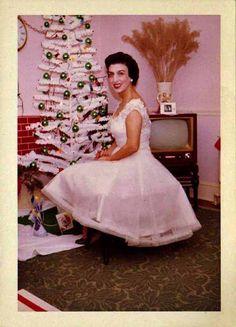 woman Christmas tree 1950s 1960s