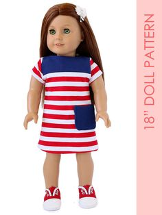 The Charlotte dress is a stylish 18 inch doll dress sewing pattern with a simple boat neck and contrast yoke. It has 2 sleeve choices (short
