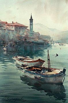 Boats in Perast, watercolor, 36x55cm.  Dusan Djukaric. http://www.dusandjukaric.com/gallery/