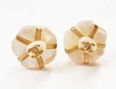 """Authentic Vintage Chanel Real Pearl Camellia Piercing Earrings  * Marked 01 * Made in France   -Approximately 0.6""""  -Excellent condition -Very lovely, great for every day"""