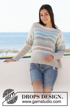 Water Lines - Knitted jumper with stripes in DROPS Alpaca. Sizes S - XXXL. - Free knitted pattern DROPS 199-5