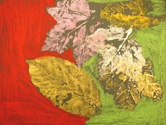 Quest Artists - leaf printing with white paint on black paper and then adding to color to background with oil pastels.