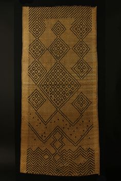 Africa  |  Bakongo culture,  DR of Congo |.Early 20th cent | Woven from flat strands of cane. The design dates to a early period & found only in the lower Congo | 59 X 127cm.   |http://tribalgatheringlondon.com/gallery/