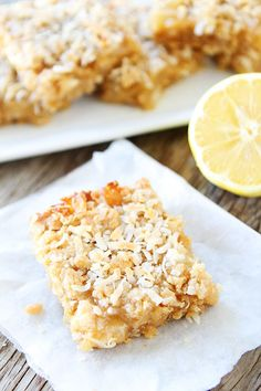 Lemon Coconut Crumb Bars Recipe on twopeasandtheirpod.com Love these easy lemon bars!