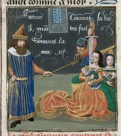 Arsinoe-----Giovanni Boccaccio, translated by Laurent de Premierfait TitleDe casibus virorum illustrium in French translation (Des cas des ruynes des nobles hommes et femmes) OriginNetherlands, S. (Bruges) Datec. 1479-c.1480 LanguageFrench
