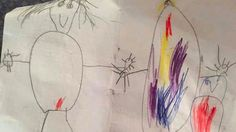 Kid draws a hilarious family portrait featuring his mother on her period