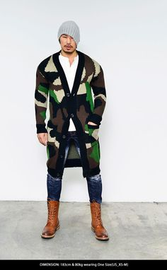 Outerwear :: Cardigans :: Edgy Long Chunky Wool Camouflage-Cardigan 102 - Mens Fashion Clothing For An Attractive Guy Look